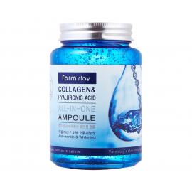 Ампульная сыворотка с коллагеном и гиалуроновой кислотой FarmStay Collagen & Hyaluronic Acid All-in-One Ampoule - 250 мл, фото 1