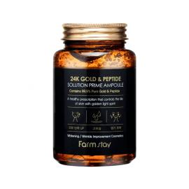 Омолаживающая сыворотка с пептидами и золотом FarmStay 24K Gold & Peptide Solution Prime Ampoule - 250 мл, фото 1